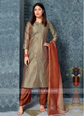 Dark beige kurta with Palazzos & Stole