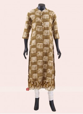 Dark Beige Kurti with Buttons