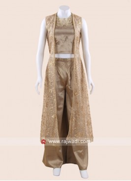 Dark Beige Palazzo Suit with Long Net Koti