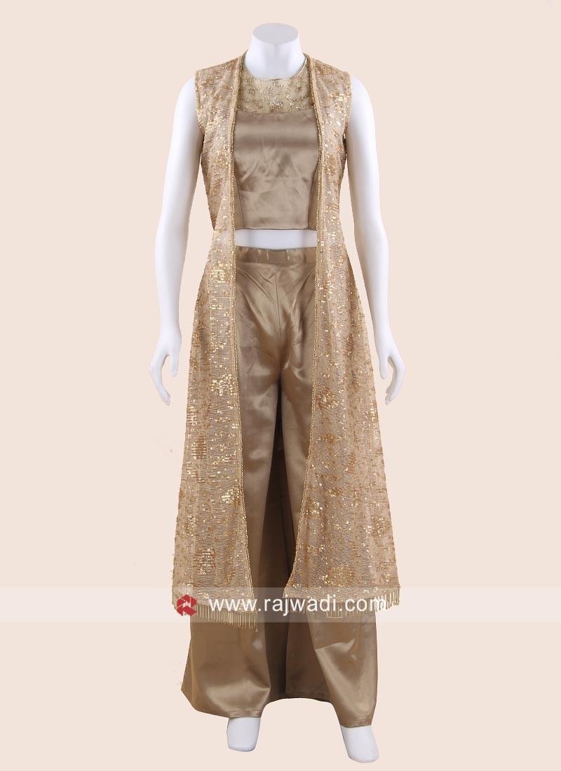 Dark Beige Palazzo Suit with Long Net Koti