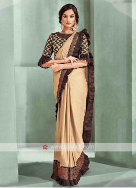 Dark beige ready pleated saree