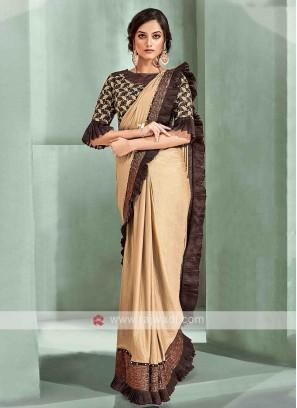 Dark beige ready pleated saree