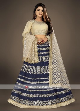 dark blue and cream lehenga choli suit