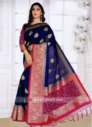 Dark Blue and Pink Banarasi Silk Saree