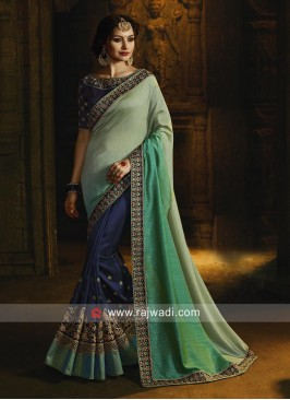 Dark Blue and Pista Green Saree