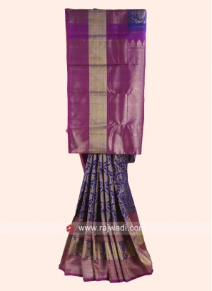 Dark Blue and Purple Woven Saree