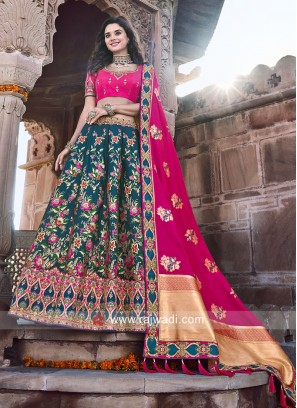 Dark Blue and Rani Silk Lehenga set