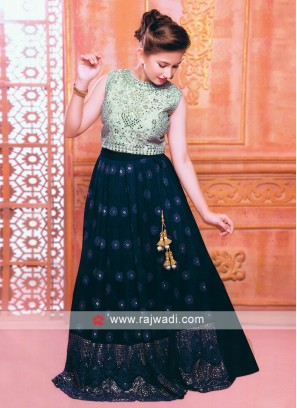 Dark blue and sky blue choli suit