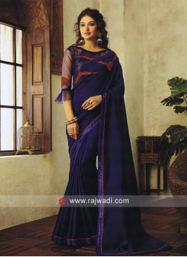 Dark Blue Art Silk Saree