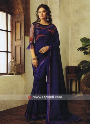Dark Blue Art Silk Saree