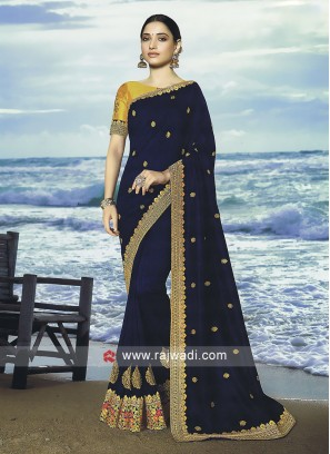 Dark blue art silk saree with blouse