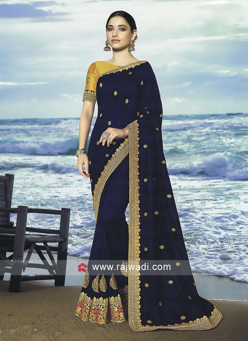 Dark blue art silk saree with blouse
