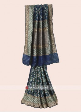 Dark Blue Banarasi Silk Saree