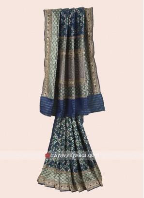Dark Blue Banarasi Silk Saree