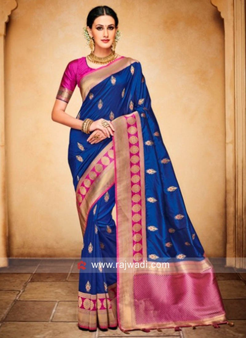 Dark Blue Banarasi Silk Weaved Saree