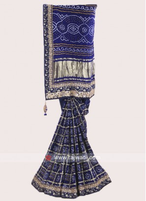 Dark Blue Bandhani Saree