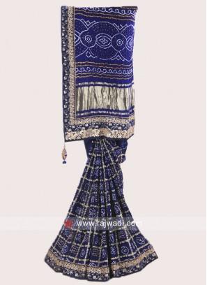 Dark Blue Bandhani Saree