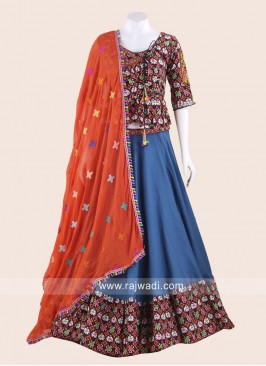 Dark Blue Chaniya Choli with Embroidery