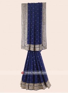 Dark Blue Chiffon Silk Saree