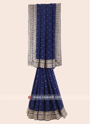 Dark Blue Chiffon Silk Saree