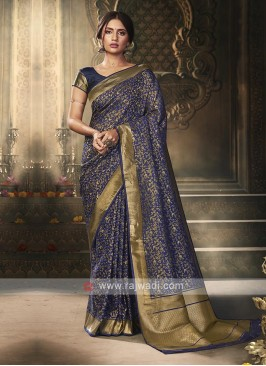 Dark Blue Color Banarasi Silk Saree