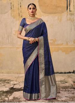 Dark Blue Color Banarasi Silk Saree