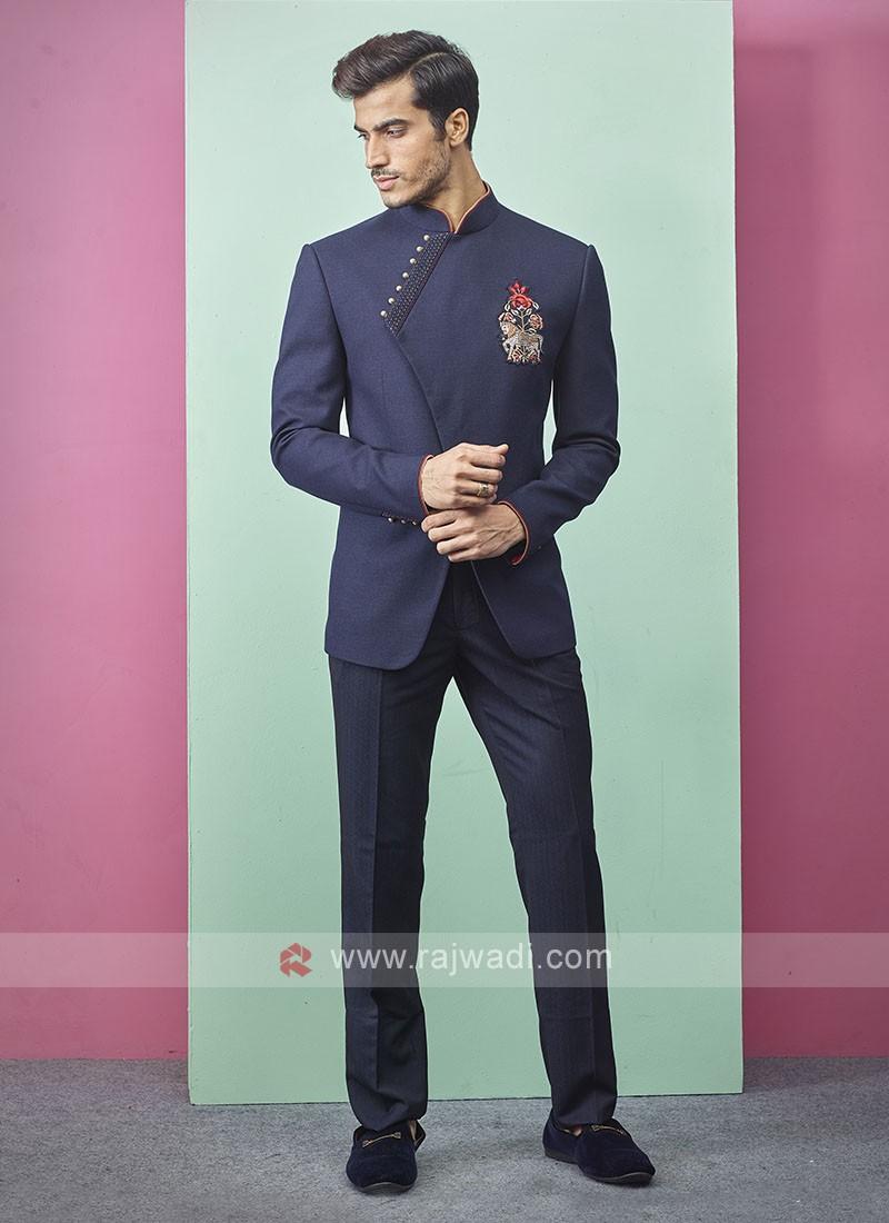 Dark Blue Color Jodhpuri Suit