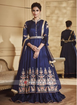 Dark Blue Crepe Silk Double Layer Anarkali