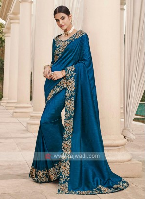 Dark Blue Cutwork Saree