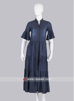 Dark Blue Demin Maxi Dress