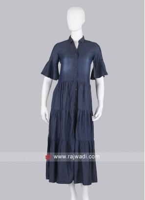 Dark Blue Demin Maxi Dress