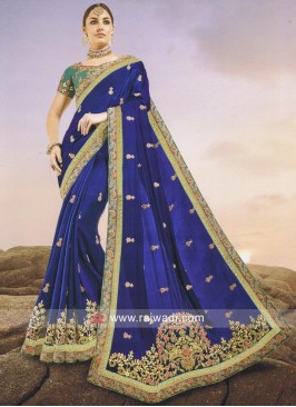 Dark Blue Designer Saree
