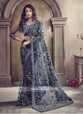 Dark Blue Embroidered Saree