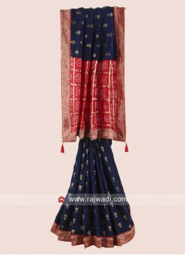 Dark Blue Embroidered Saree with Contrast Border