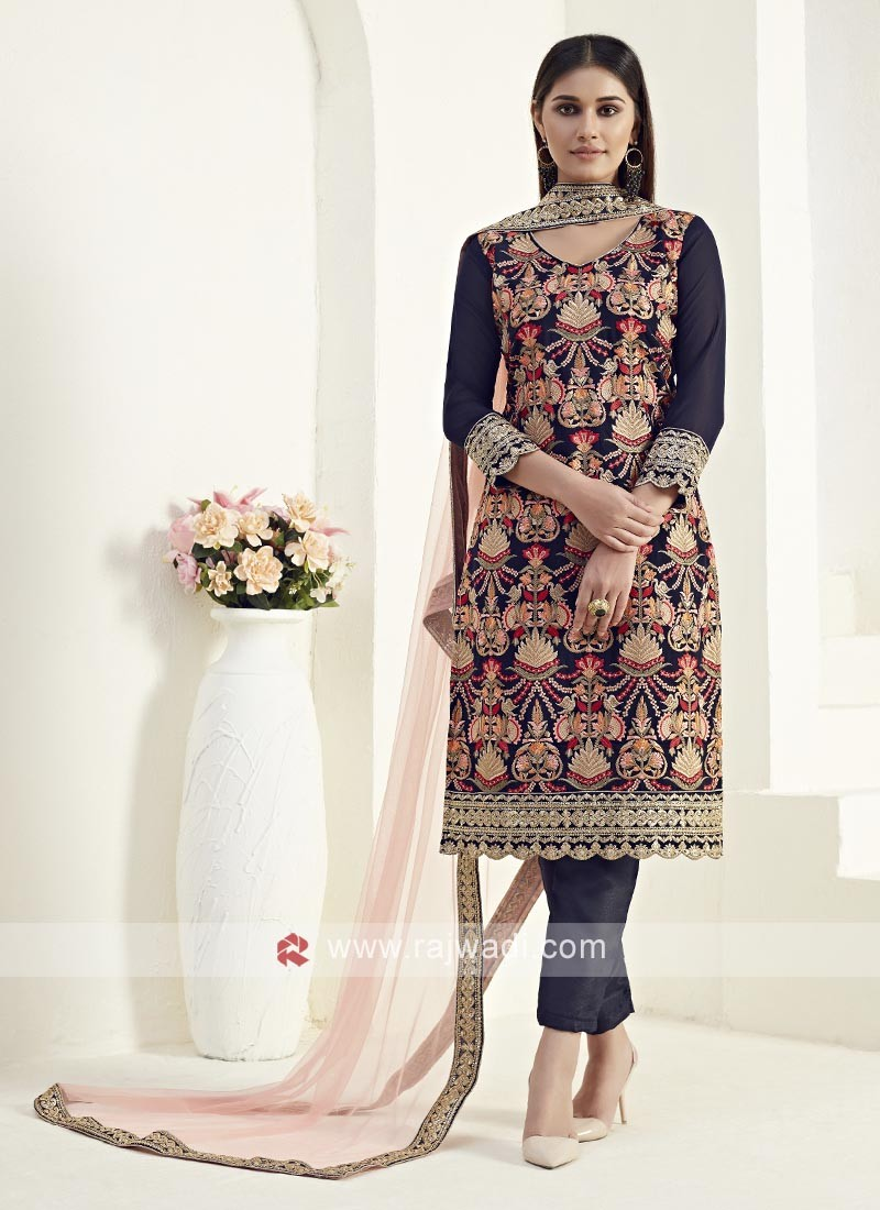 Dark Blue Embroidery Dress Material
