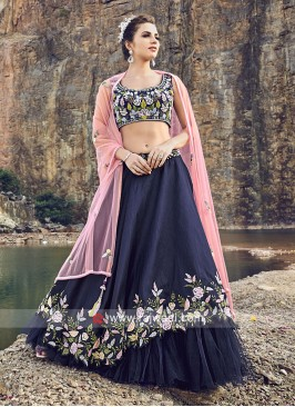 Dark Blue Floral Work Layered Lehenga Set