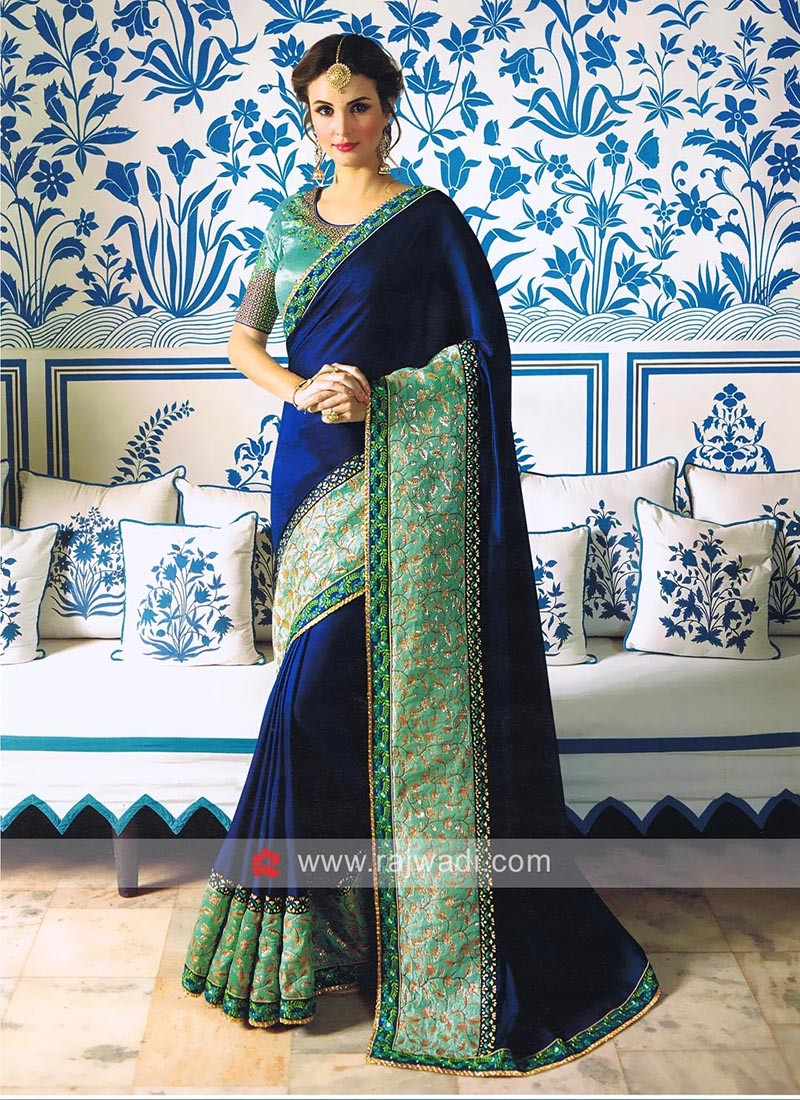 Dark Blue Heavy Border Work Sari