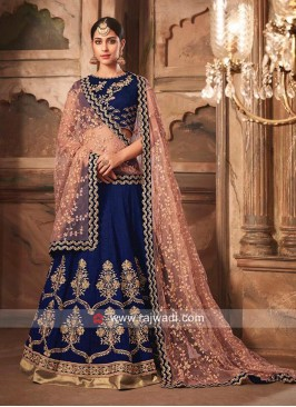 Dark Blue Heavy Lehenga with Net Dupatta