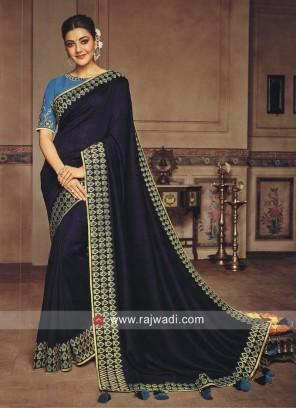 Dark Blue Kajal Aggarwal Sari with Tassels