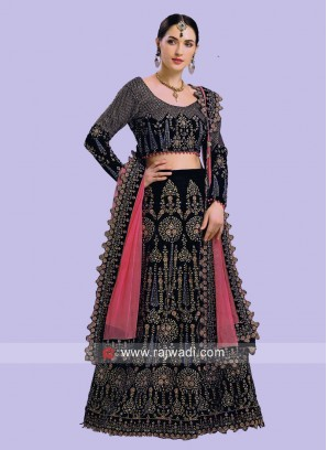 Dark Blue Lehenga Choli with Dupatta