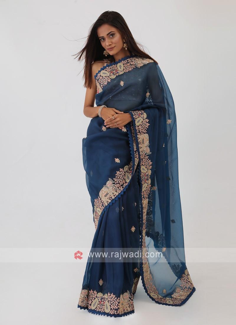 Dark Blue Net Saree
