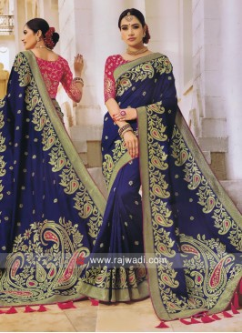 Dark Blue Paisley Design Saree