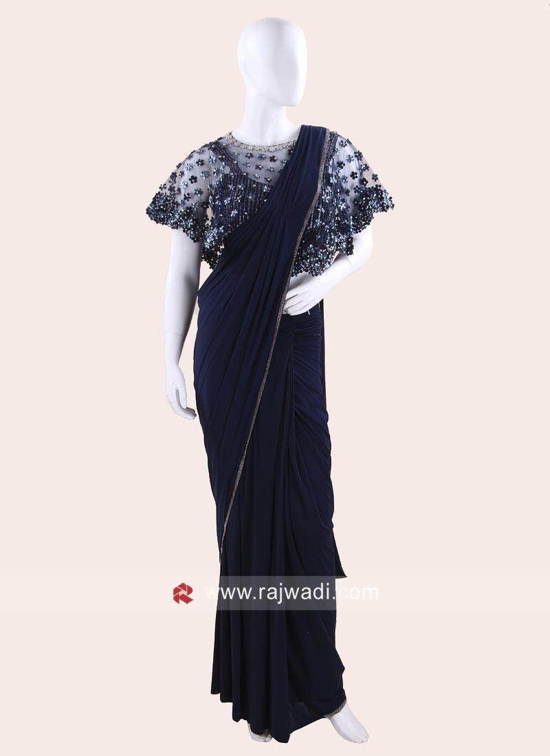 Dark Blue Party Wear Choli Saree