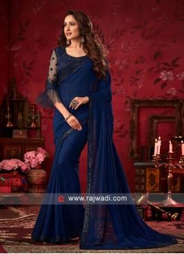 Dark Blue Party Wear Saree