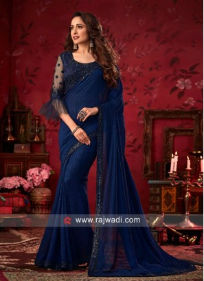 Dark Blue Party Wear Saree