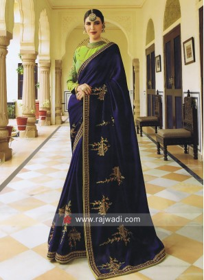 Dark Blue Patch Work Saree