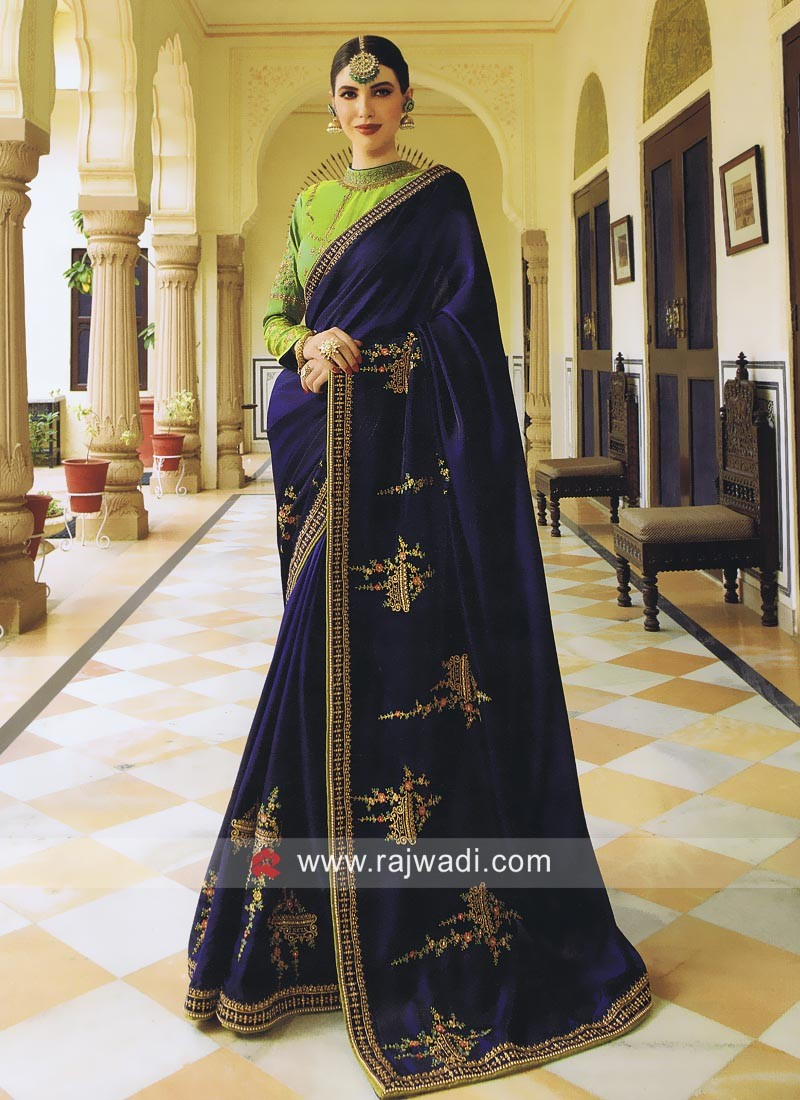 b60e325def Dark Blue Patch Work Saree. Hover to zoom