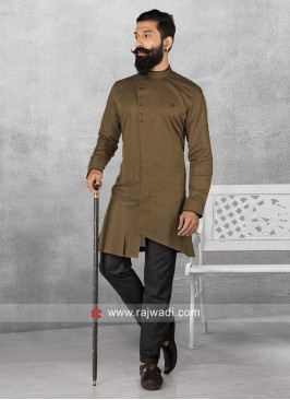 Brown Pathani With Black Trouser