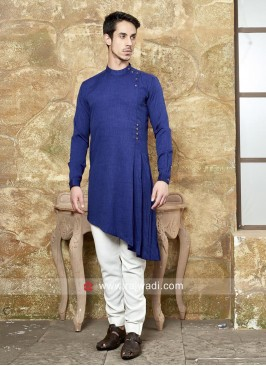 Dark Blue Pathani With White Trouser