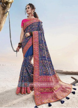 Dark Blue & Pink Saree